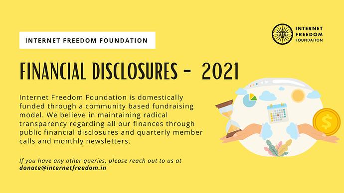 FINANCIAL DISCLOSURE - 2021